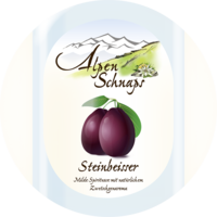 Steinbeisser with Plum flavour 35% vol. with felt hat 0,5 l