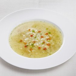 Clear Asparagus Soup with garnish
